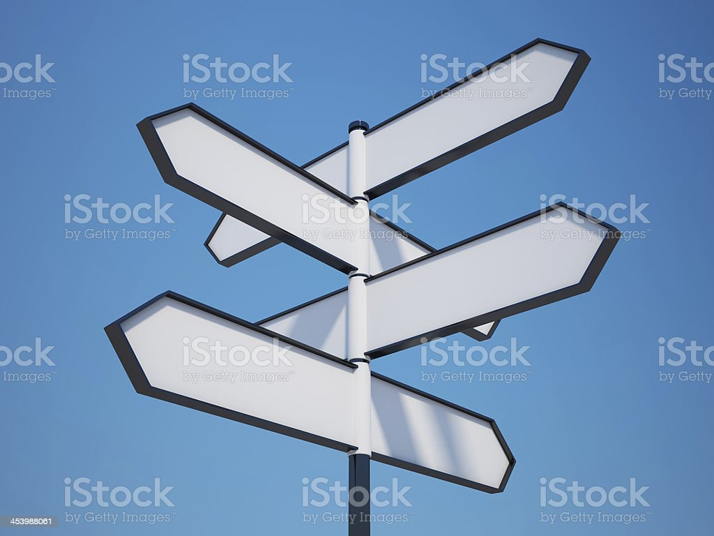Blank signpost with a clipping path stock photo