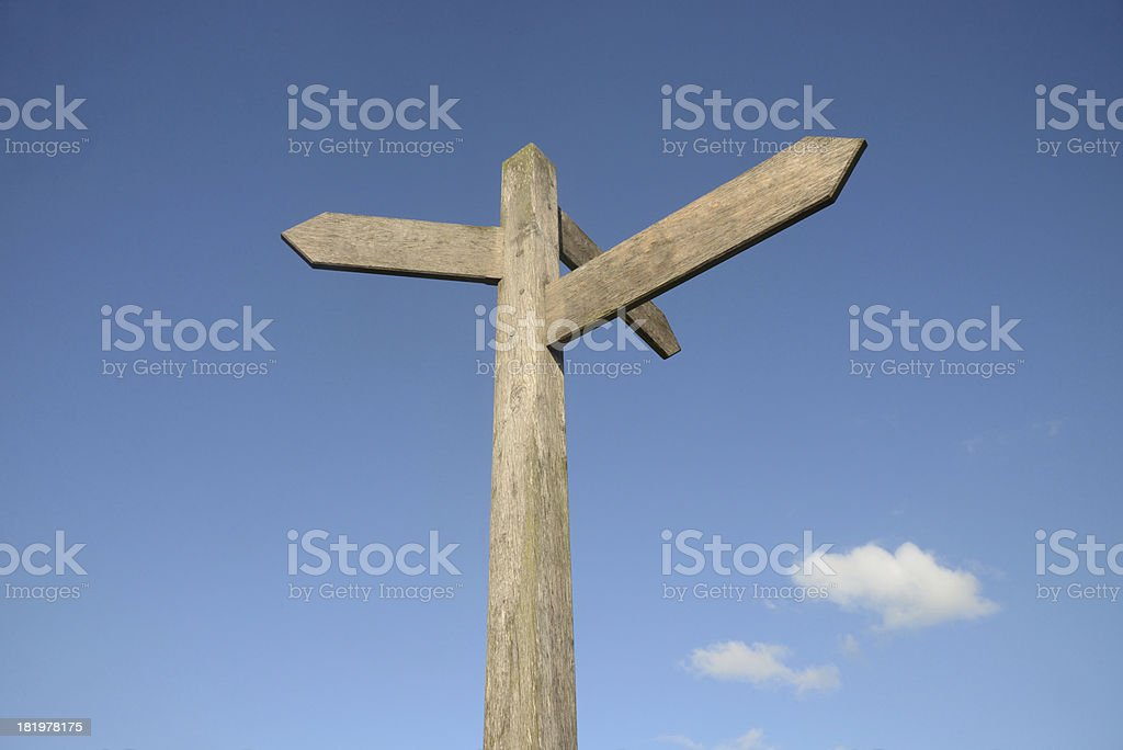 Blank signpost with blue sky and clouds royalty-free stock photo