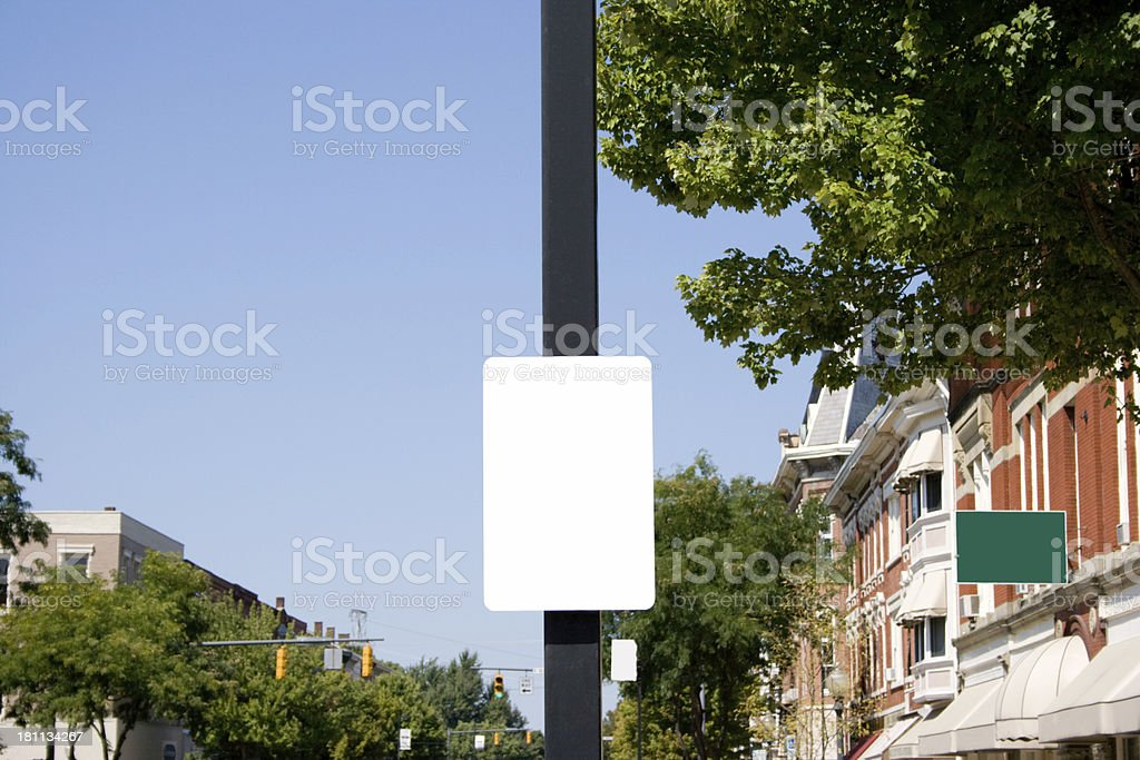 Blank signs in town stock photo