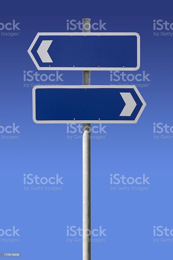Blank signs on blue sky stock photo