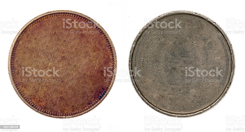 Blank silver and copper coins stock photo