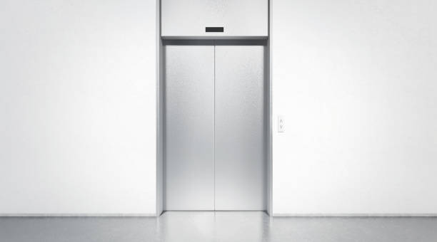 blank silver closed elevator in office floor interior mock up - porta foto e immagini stock