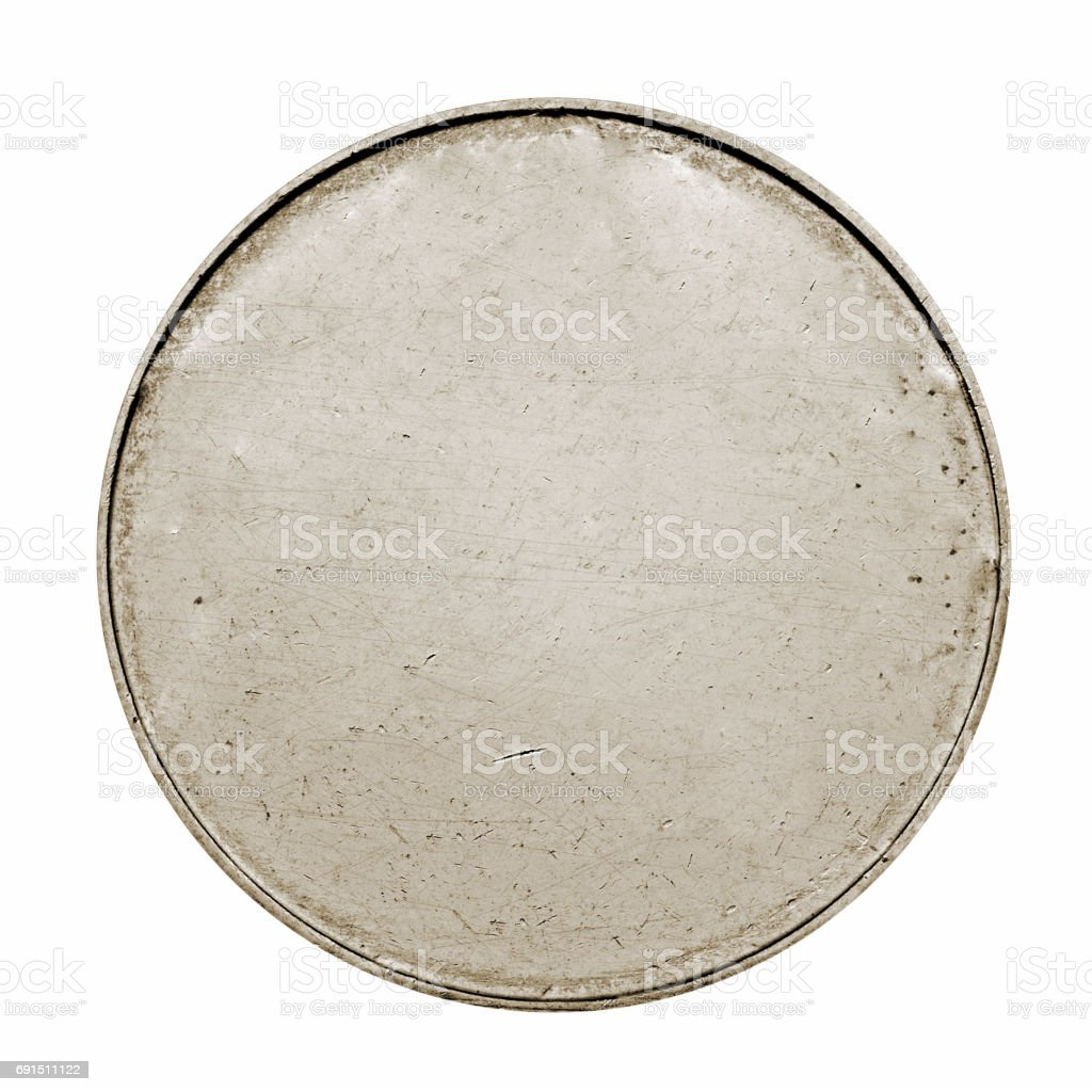 Blank silver coin with stripes stock photo
