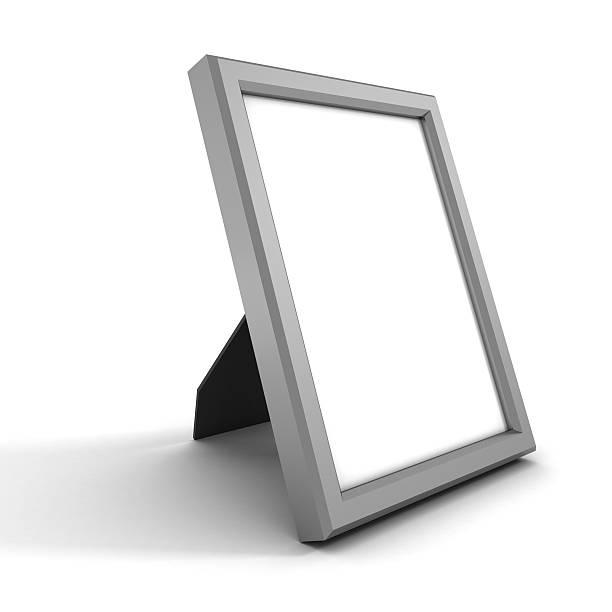 Leere silberne Bild oder Bilderrahmen auf Weiß – Foto
