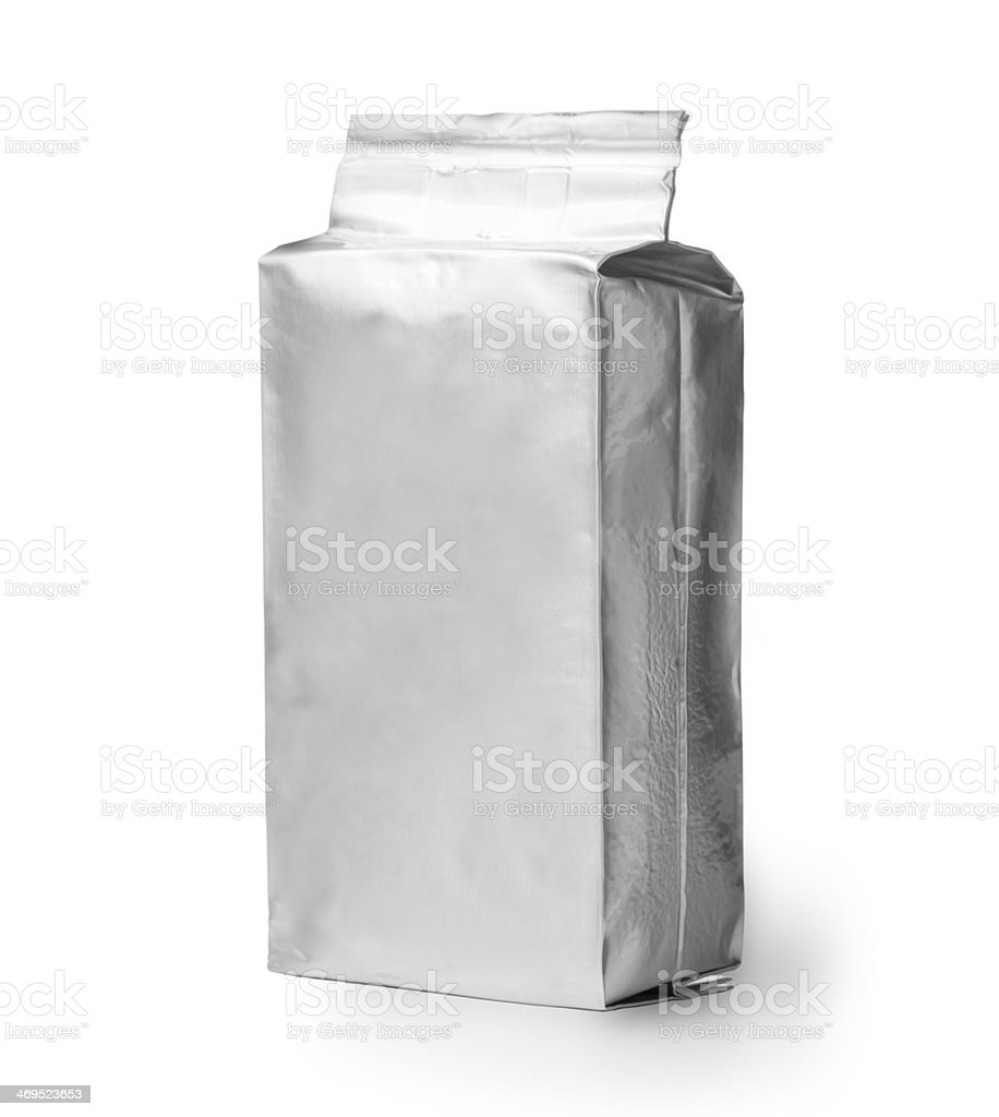 blank silver product packaging stock photo