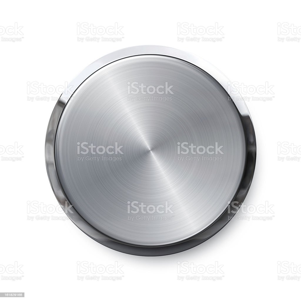 Blank silver push button stock photo