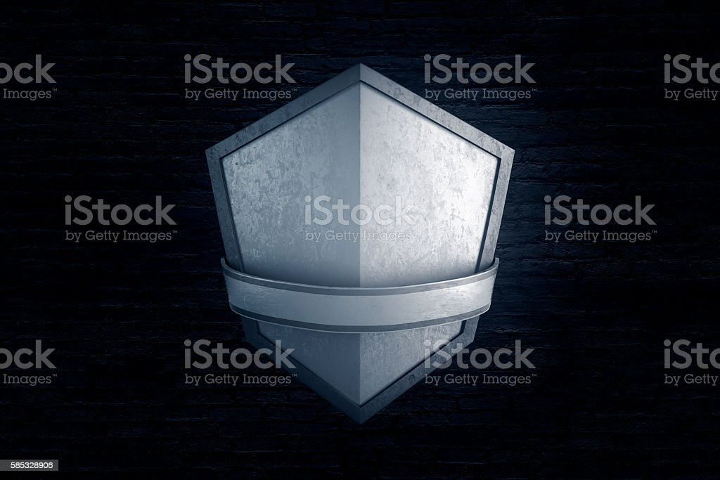 Blank silver shield brick background - Photo