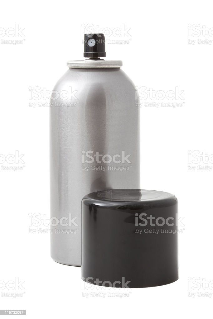 A blank silver spray can on a white background royalty-free stock photo