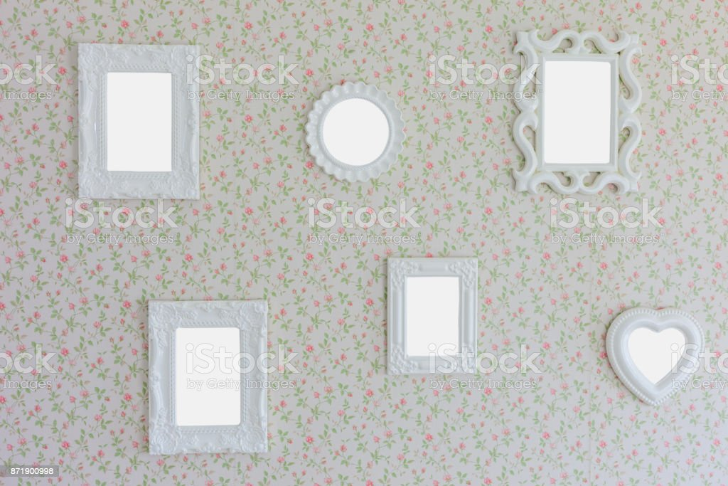 Blank Six Photo Frame On Wall Background Stock Photo & More Pictures ...