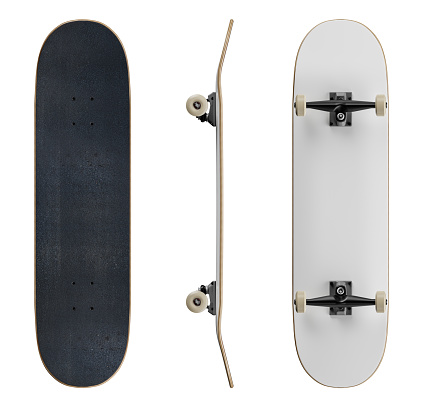 Blank Skateboard Deck Template Mockup Isolated On White ...