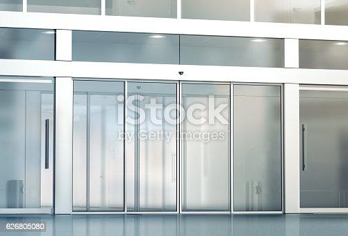 istock Blank sliding glass doors entrance mockup 626805080