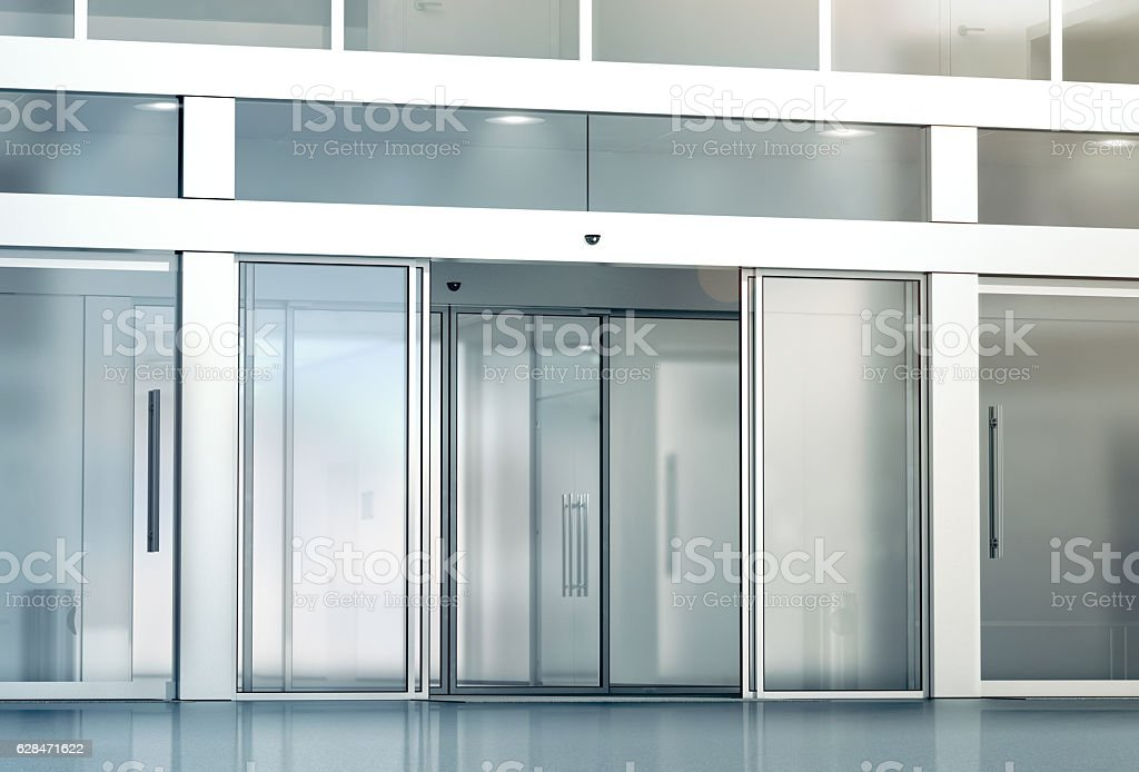 Blank sliding glass doors entrance mockup stock photo