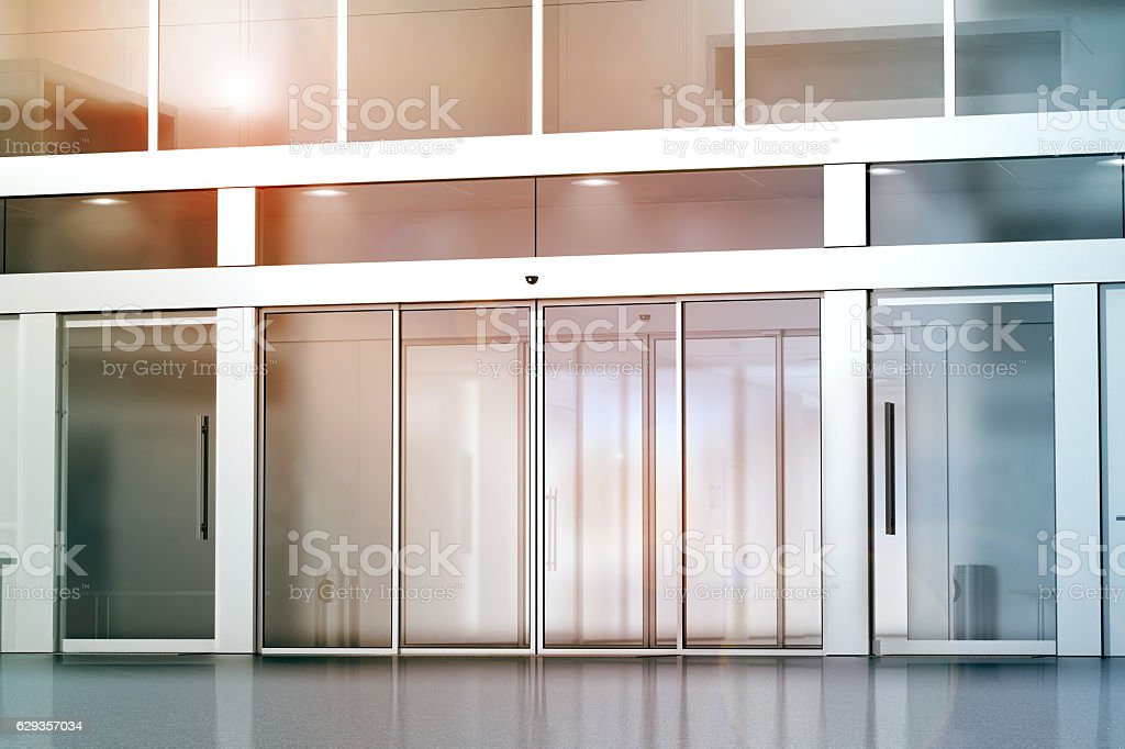 Blank sliding glass doors entrance mockup - Photo