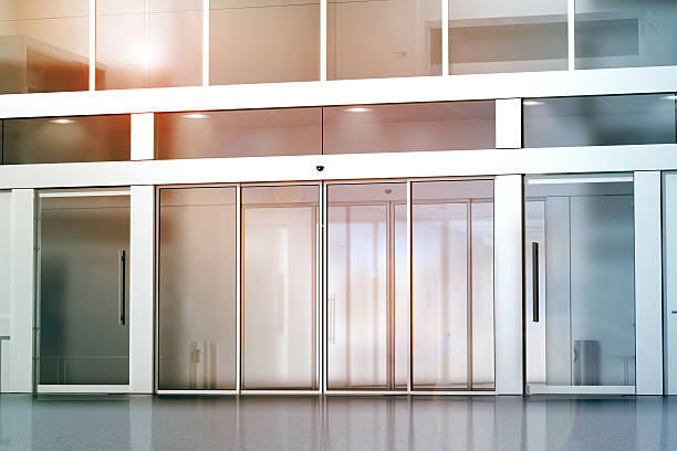 blank sliding glass doors entrance mockup - entrance stock photos and pictures