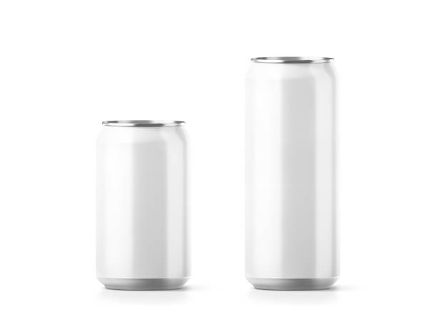 Blank small and big aluminium soda can mockup stock photo