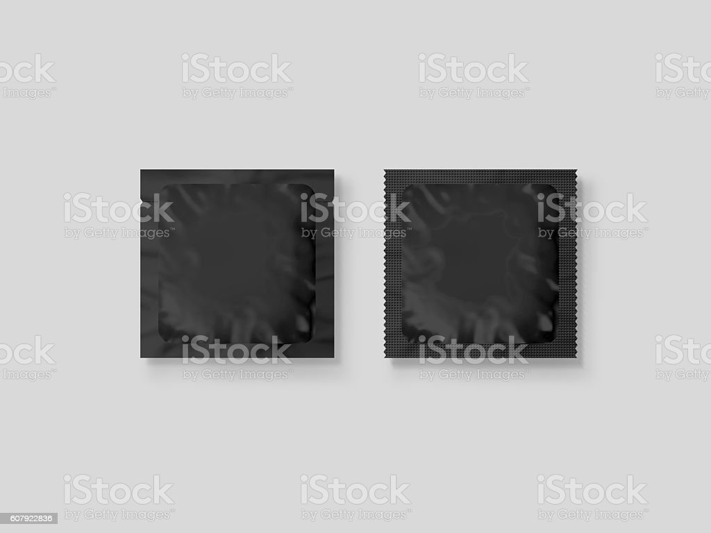 Blank small plastic packet design mockup, 3d illustration, stock photo