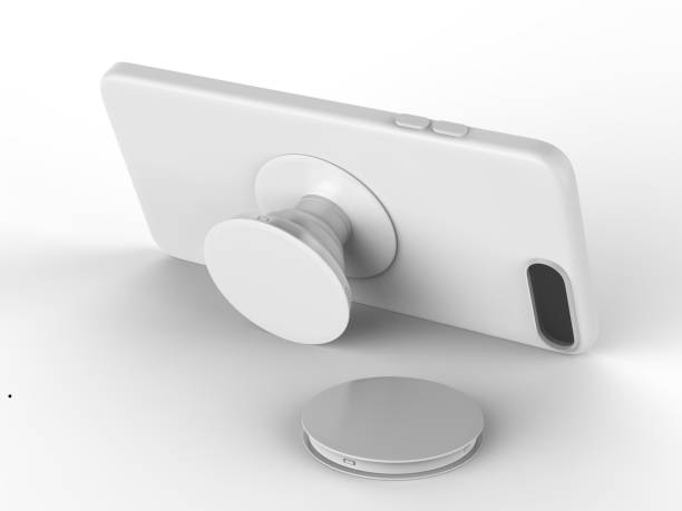 Blank smart phone pop socket stand and holder for branding. 3d rendering illustration. Blank smart phone pop socket stand and holder for branding. electrical outlet stock pictures, royalty-free photos & images