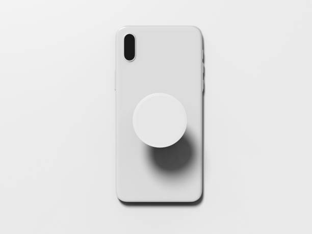 Blank smart phone pop socket stand and holder for branding. 3d rendering illustration. Blank smart phone pop socket stand and holder for branding. 3d illustration. electrical outlet stock pictures, royalty-free photos & images