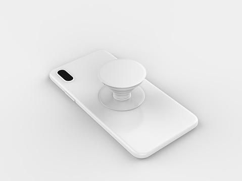 Blank smart phone pop socket stand and holder for branding. 3d rendering illustration.