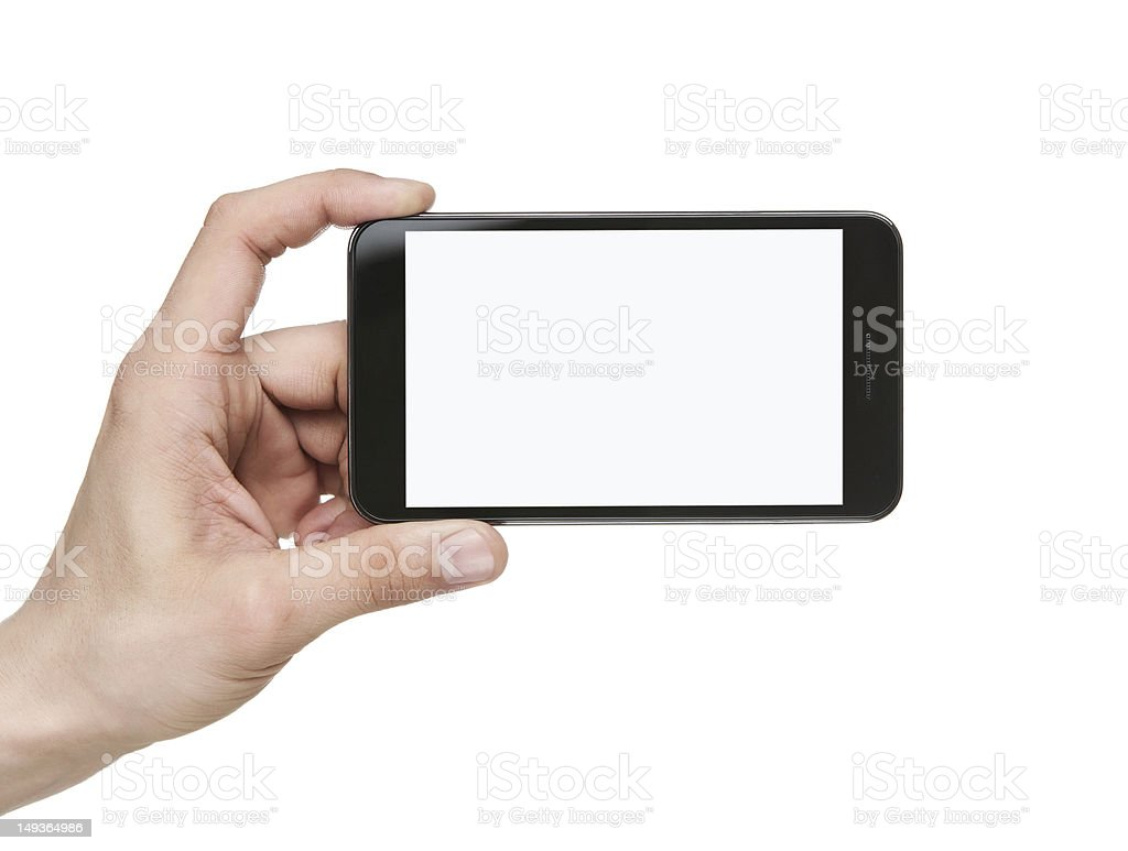 Blank smart phone with clipping path stock photo