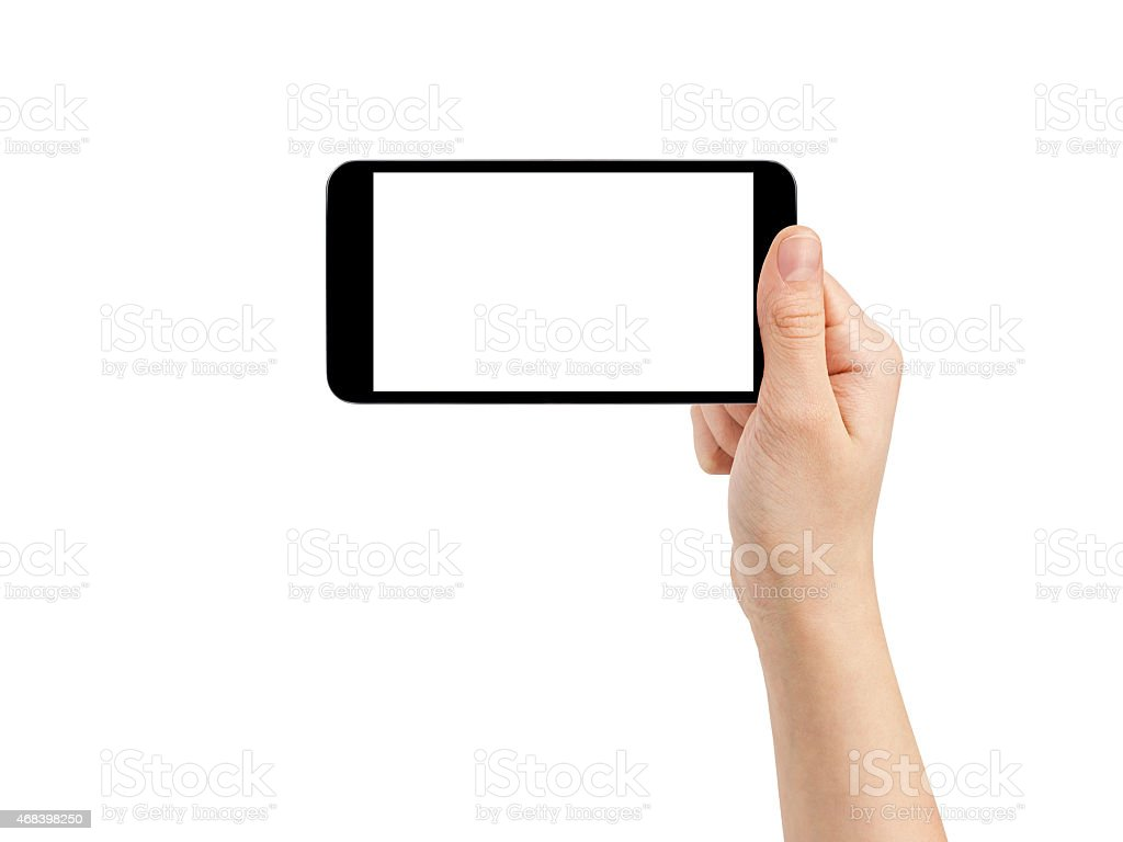 Blank smartphone concept held by a hand on white background stock photo