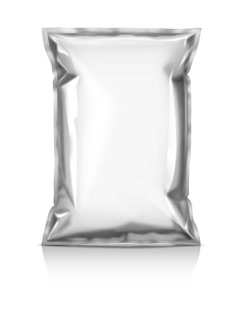 blank snack pouch isolated on white background - crisp packet stock photos and pictures