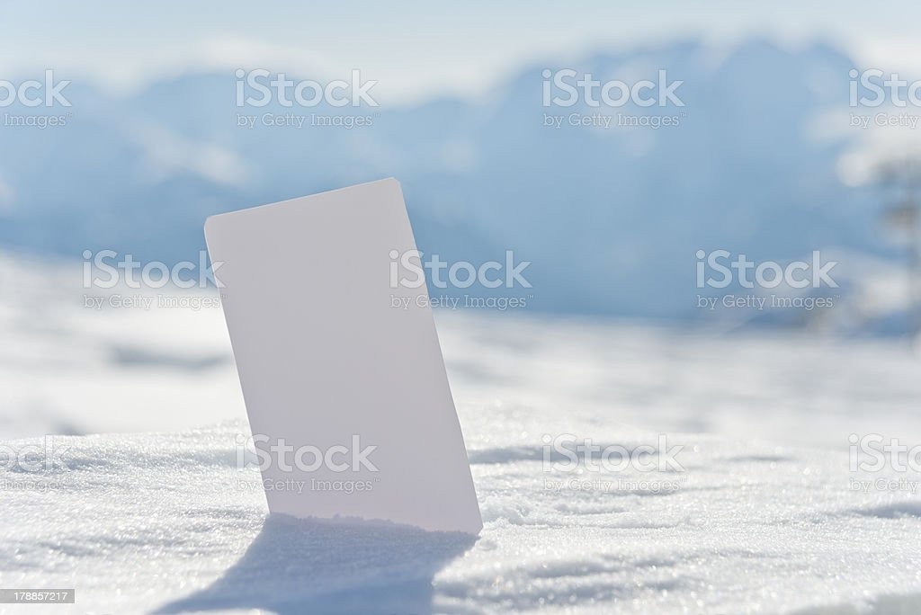 Blank snow business card ticket stock photo