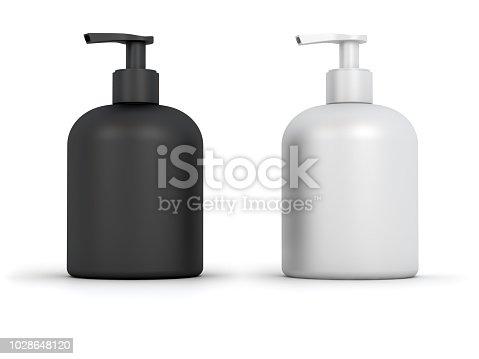 Blank Soap Dispenser Bottles. Digitally Generated Image isolated on white background