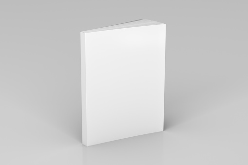 Blank white vertical soft cover book standing on white background. Isolated with clipping path around book. 3d illustration