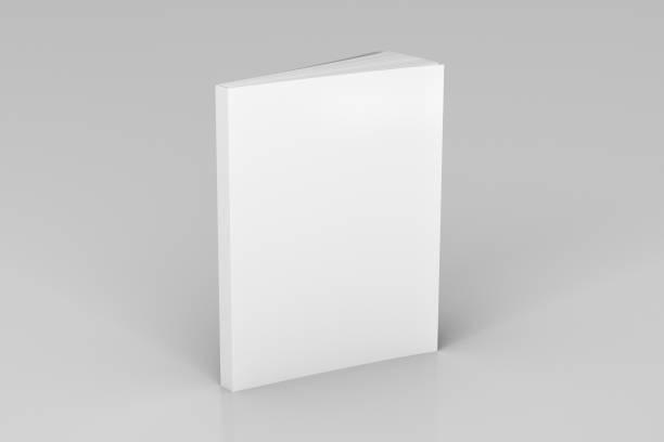 Blank soft color book standing Blank white vertical soft cover book standing on white background. Isolated with clipping path around book. 3d illustration catalog stock pictures, royalty-free photos & images
