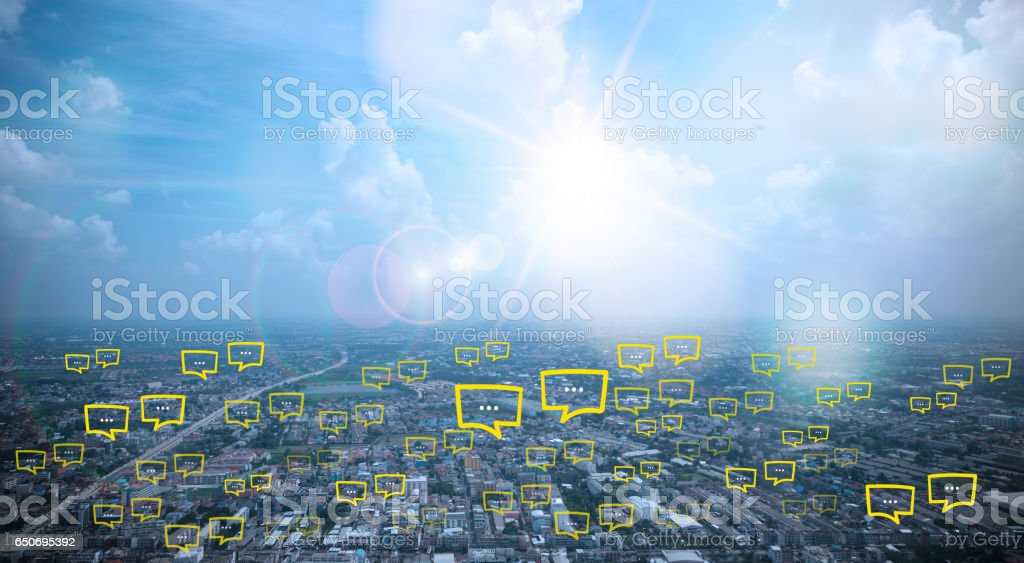 blank space for  text on city and sky background stock photo
