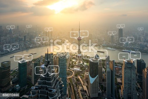 istock Blank space for text on Shanghai city and bubble chat 638310444
