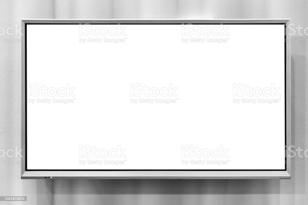 blank space lcd screen panel for advertising billboard hang on wall stock photo