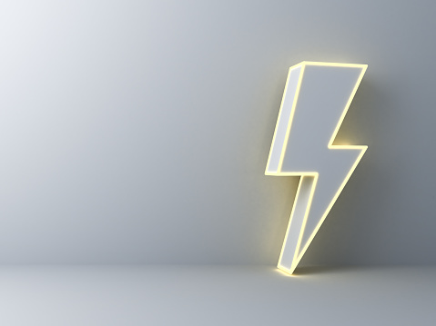 Blank space with neon thunder or lightning isolated over dark white wall background with shadow 3D rendering