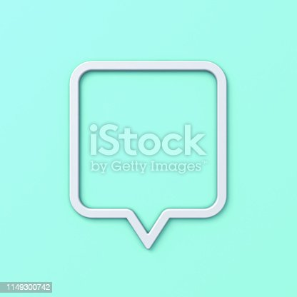 1125351850istockphoto Blank speech bubble frame or white rounded square social media notification pin with shadow isolated on light blue green pastel color background 3D rendering 1149300742