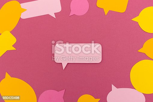 istock Blank speech bubble surrounded by more empty speech bubbles 930420498