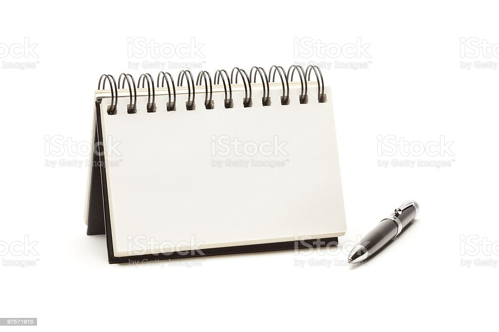 Blank Spiral Note Pad and Pen on White royalty-free stock photo