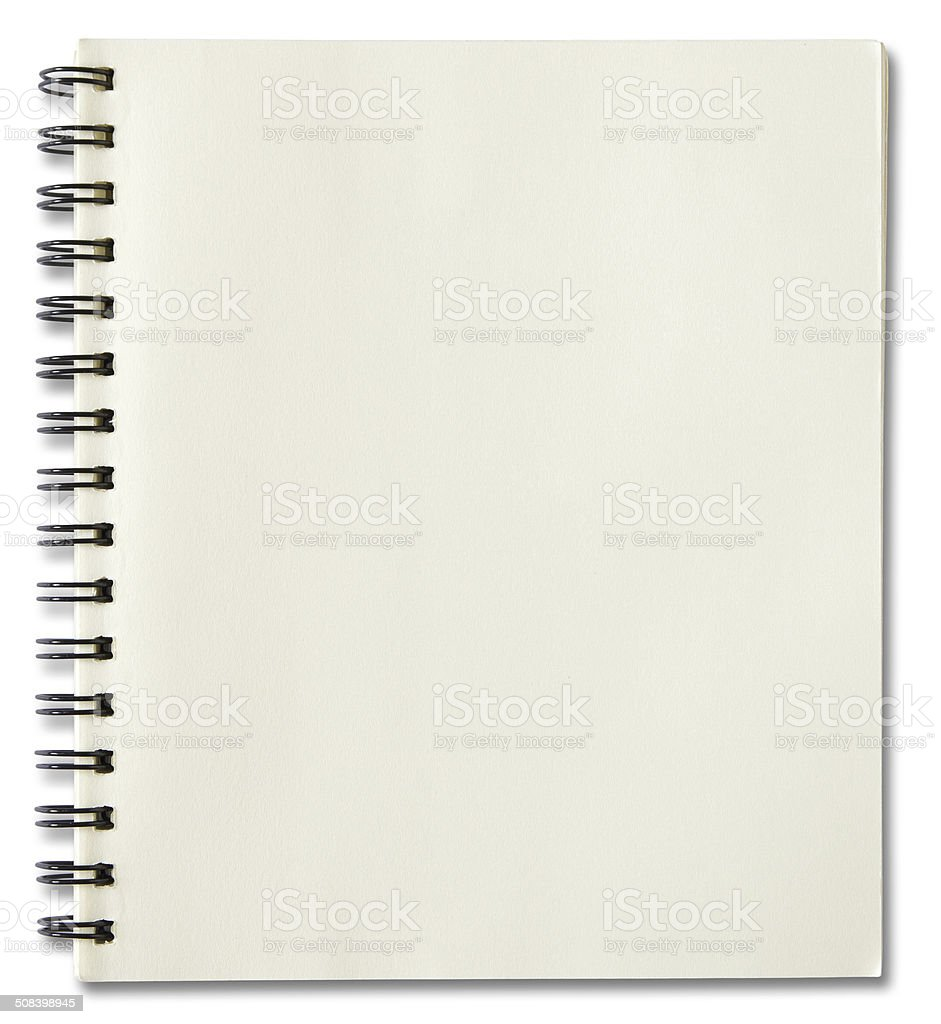 blank spiral notebook isolated on white stock photo