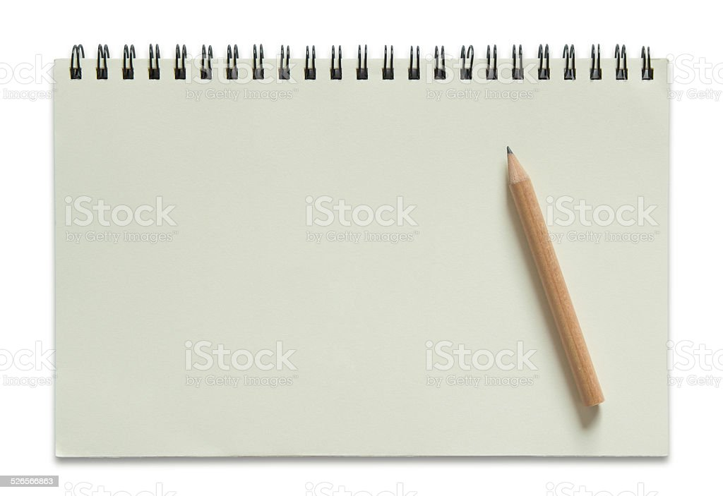 blank spiral notepad and pencil stock photo