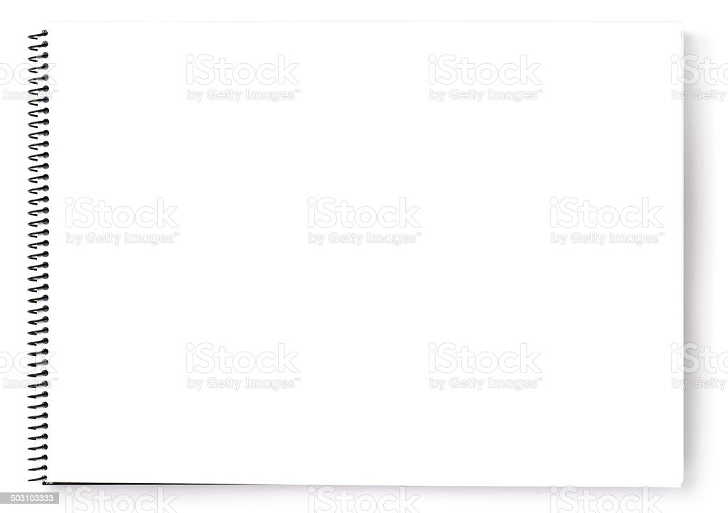 Blank spiral notepad stock photo