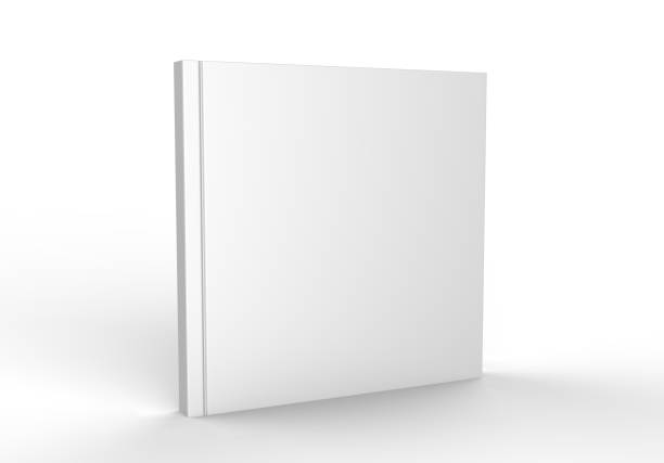 Blank square book and magazine cover template with pages in front side standing on white surface Perspective view stock photo