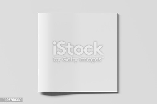 Blank square brochure or booklet cover mock up on white. Isolated with clipping path around brochure. View above.  3d illustratuion