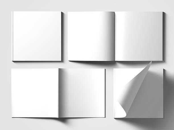 Blank square catalog mock up on white. stock photo