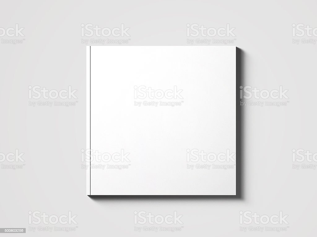 Blank square catalog mock up on white. stock photo