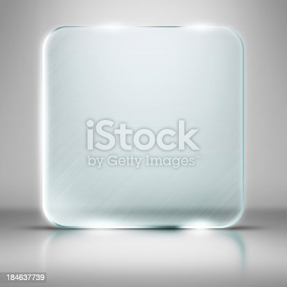 153984410 istock photo Blank square glass plate on white background 184637739