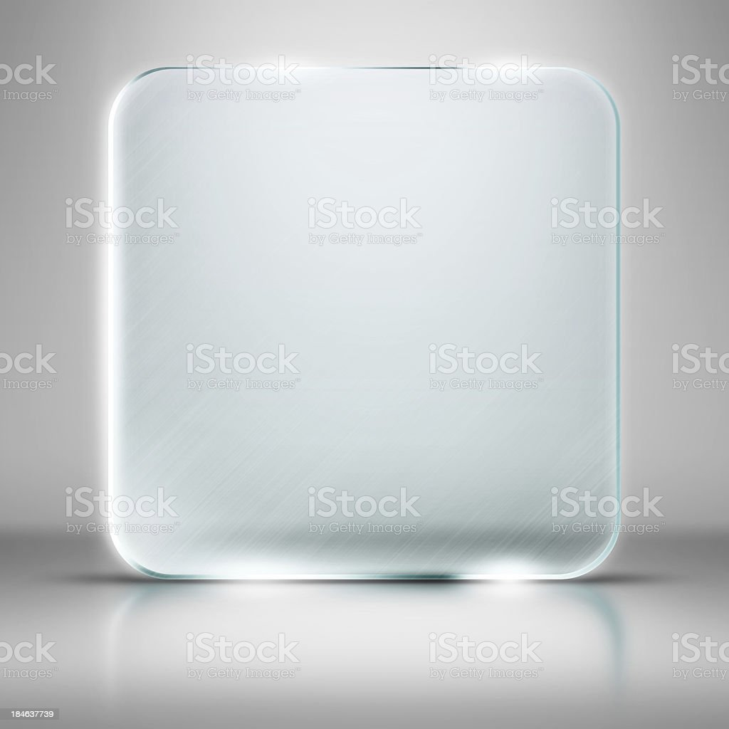 Blank square glass plate on white background stock photo