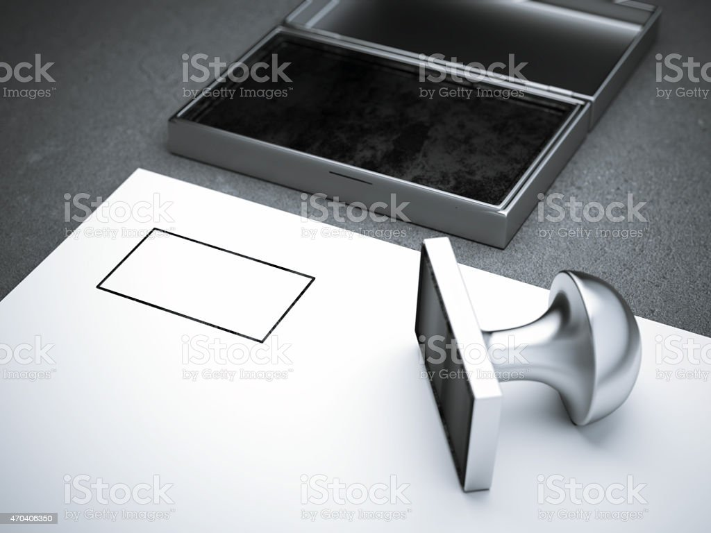 Blank square metal stamp stock photo