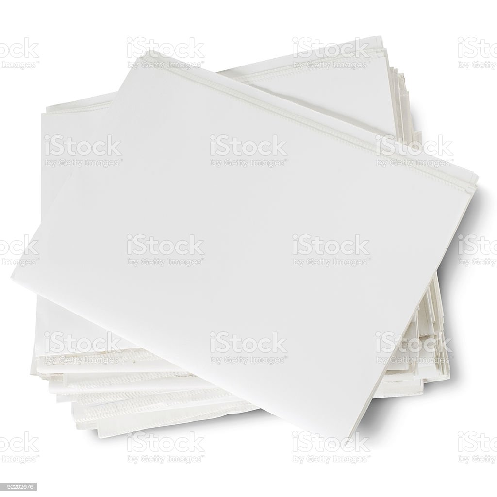 Blank stack of white paper from above royalty-free stock photo