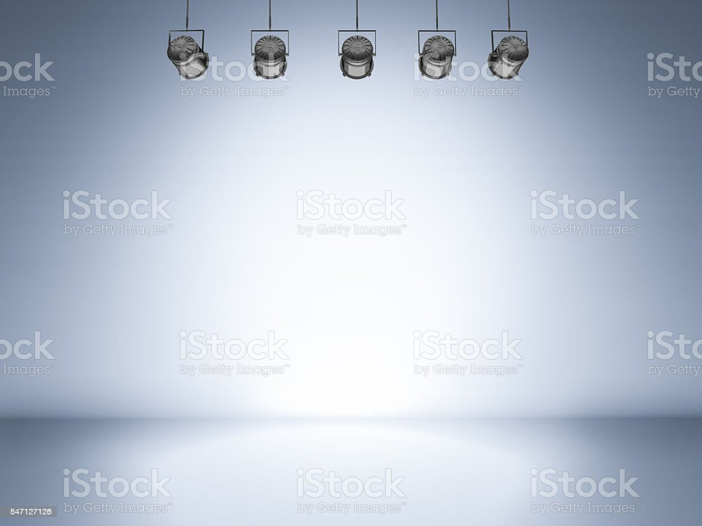 blank stage with shining spotlight stock photo