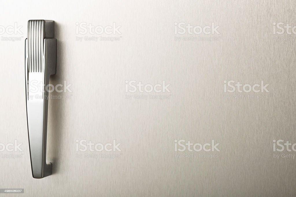 Blank stainless steel retro refrigerator door stock photo